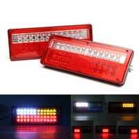 Pair 24V 48 LED Tail Rear Turn Siginal Light Lorry Trailer Car Truck Caravan Van Lamp Amber Red