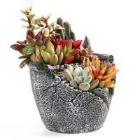 Garden Plant Flower Pot Resin Herb Succulent Planter Rockery Shaped Trough Basket Decorations