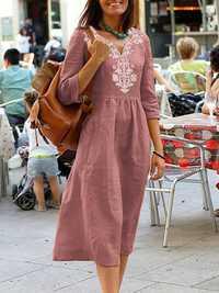 Women Casual V-Neck Cotton Linen Half Sleeve Dress