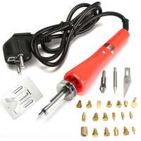 220V 30W Wood Burning 21 Pieces Soldering Tool Set Pyrography Kit Brass with Tips