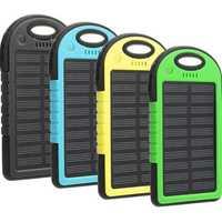 Solar Energy Power Bank Case 5000mAh Solar Power Bank Dual 2 USB Waterproof Portable Charger Case 1A