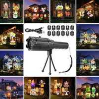 12 Pattern Outside LED Projector Light Atmostphere Light Landscape Laser Lamp Halloween Kid Gift