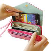 Crown Zipper Short Wallet Leather Clutches Bags Card Holder Coin Bags Phone Case For Iphone Samsung