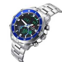 Naviforce 9030 LED Digital Multi-function Stainless Steel Band Analog Men Sport Watch