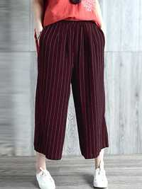 Women High Waist Casual Loose Stripe Long Pants