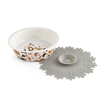 Ceramic Pet Bowl for Food and Water Bowls Pet Feeders with Free Silicone Placemat Antiskid