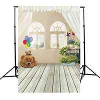 3x5ft Bear Indoor Wood Floor Kid Studio Photography Background Cloth Backdrop