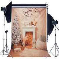 5x7ft Christmas Fireplace Christmas Tree Branch Wood Blanket Photography Backdrop Studio Prop Background