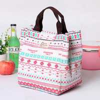 Honana CF-LB012 Cotton Linen Large Capacity Insulated Cooler Lunch Tote Bag Travel Picnic Handbag