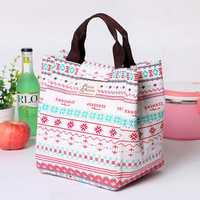 Honana CF-LB012 Cotton Linen Large Capacity Insulated Cooler Lunch Tote Bag Travel Picnic Handbag