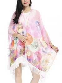 Women Sexy Tassels Chiffon Beachwear Transparent Printing Shawl Cardigan