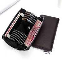 Men 24 Card Slots Genuine Leather 6 Inch Phone Car Key Bag Long Wallet