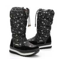 Nylon Zipper Round Toe Warm Wool Lining Mid Calf Snow Boots