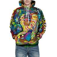 Fashion Colorful Monkey Oily Painting Printed Hoodies Loose Casual Sports Sweatshirt