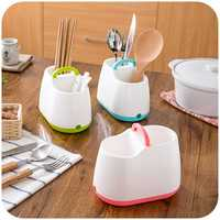 Portable Chopsticks Cage Spoon Cutlery Storage Box Kitchen Rack Drains Organizer