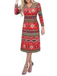 Women Casual Long Sleeve Floral Print Christmas Mini Dress