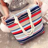 Women Large Capacity Simple Canvas Shopping Bag Handbag