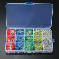 750 Pcs 3mm LED Diode Yellow Red Blue Green White Assortment Light DIY Kit