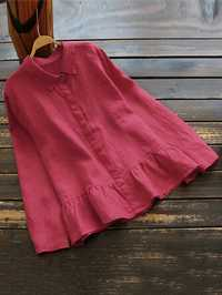 Plus Size Loose Pure Color Long Sleeve Ruffles Hem Blouse