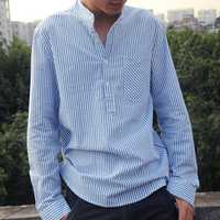 Men's Loose Cotton Striped Breathable Casual T-shirts