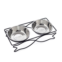 Stainless Steel Pet Bowl for Food and Water Bowls Pet Feeders Double Bowls Set Fish Metal Stand