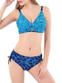 Women Sexy Plus Size Wireless Swimwear Line Printing Back Lace-Up Ruffle Bikinis Set