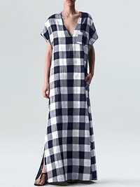 Plus Size Women Plaid V-neck Short Sleeve Maxi Dress