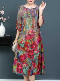 Plus Size Elegant Art Print Loose Dress For Women