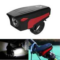 XANES BL01 400LM T6 LED 5 Modes USB Charging IP45 Waterproof Bike Light With 140db Loudspeakers