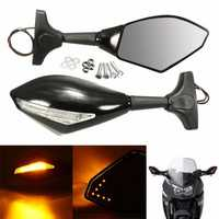Motorcycle Rear View Mirror with LED Turn Signal For Honda Kawasaki Suzuki Yamaha