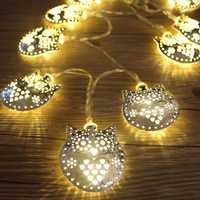 KCASA 1.8M 10 LED Metal Owl String Lights LED Fairy Lights for Festival Christmas Halloween Party Wedding Decoration Battery Powered