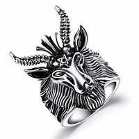 Vintage Pentagram Satan Rams Stainless Steel Men Ring