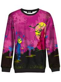 Women Halloween Castle Bat Print Long Sleeve Sweatshirt