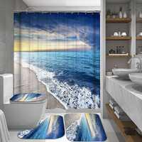 Sunshine Beach Waterproof Shower Curtain & Non-Slip Mats Polyester Fabric Bathroom Curtain Mildewproof Curtain For The Bathroom