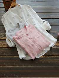 Women Polka Dot V-neck Adjustable Sleeve Pocket Loose Blouse