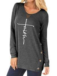 Women Button Side Loose T-shirt