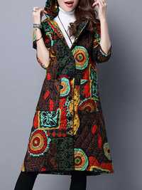 Folk Style Women Hooded Floral Printed Cotton-Padded Long Winter Coat
