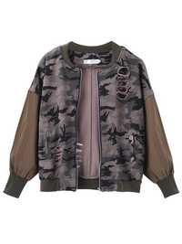 Camouflage Loose Army Green Long Sleeve Hole Short Jacket