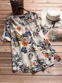 Women Floral Print V-neck Short Sleeves Blouse