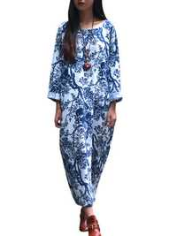 Retro Women Floral Printed Long Sleeve Loose Maxi Dresses