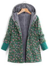 Floral Print Hooded Fleece Long Sleeve Autumn Winter Coats