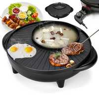 220V 1700W 1.8L Electric 2 in 1 Pan Hot Pot BBQ Frying Cook Smokeless Teppanyaki Grill Plate BBQ Grill Pan