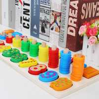 Children Kids Wooden Learning Digital Matching Early Education Teaching Math Toys
