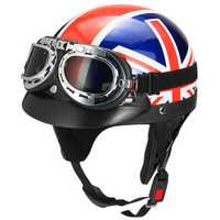 Retro UK Flag Motorcycle Half Face Helmet Biker Scooter With Sun Visor UV Goggles Cafe Racer