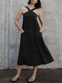 Women Solid Color Cross Sleeveless Dress with Pockets