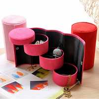 Honana HN-B18 3 Layers Storage Box Jewelry Necklace Earring Organizer Cylinder Holder