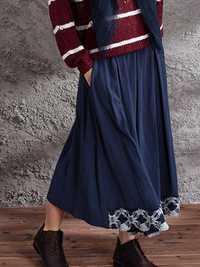 Vintage Women Elastic Waist Loose Hem Skirts