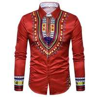 Mens Contrast Color Enthic Style Printing Slim Fit Shirts