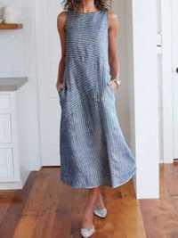 Women Casual Sleeveless Striped Maxi Dress with Pockets