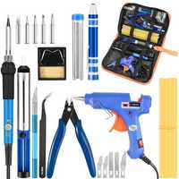 Electric Soldering Iron Set Desoldering Pump Welding Hot Melt Glue G un Hand Tool Sets 110V/220V